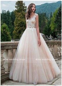 Image 4 - Vintage Scoop Boyun Gelinlikler Vestido de Novia Robe de Mariee Bir Çizgi Illusion Gelin Elbise Dantel Aplikler düğün elbisesi