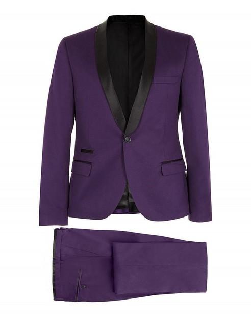 Side Vent padrinos de boda del mantón del satén solapa del novio esmoquin Purple Mens trajes de boda mejor hombre ( Jacket + Pants + Tie + pañuelo ) B8227