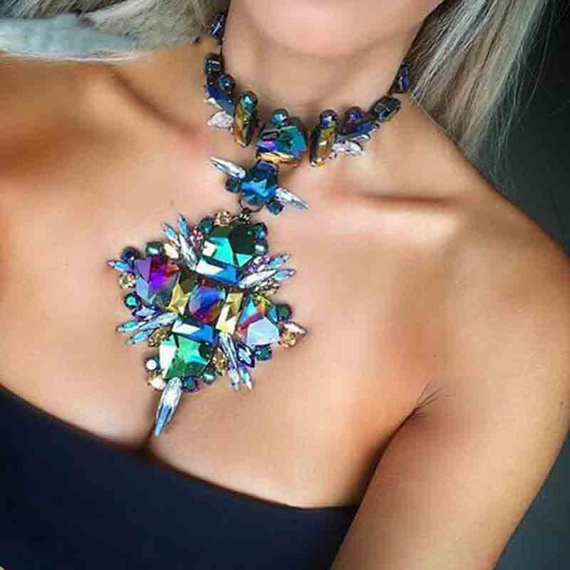 2017 Summer Geometric Fashion Crystal Choker Necklace Women Wedding Boho Statement Necklace Custom Chocker Jewelry Wholesale
