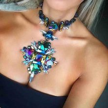 2018 Summer Geometric Fashion Crystal Choker Necklace Women Wedding Boho Statement Necklace Custom Chocker Jewelry Wholesale