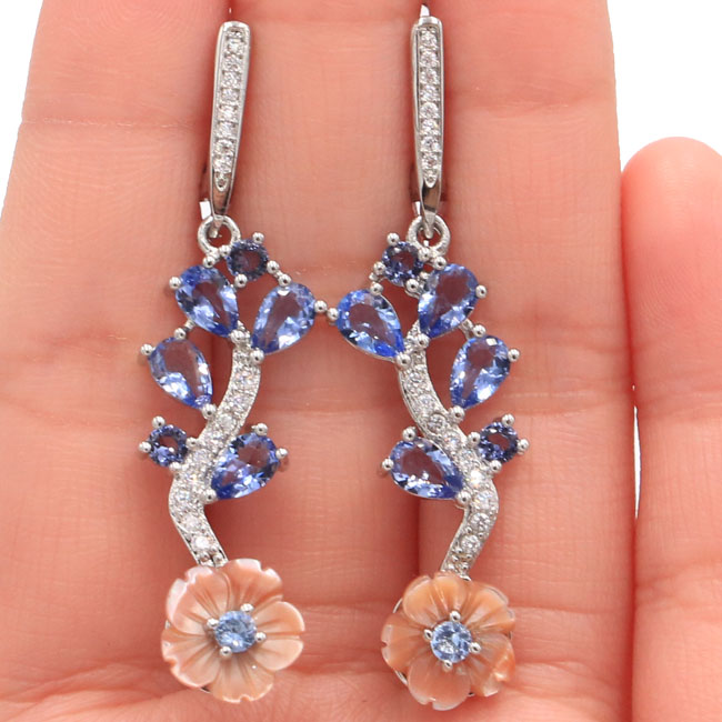 New Designed  Long Fresh Shell Iolite CZ 925 Silver Earrings 50x11mm