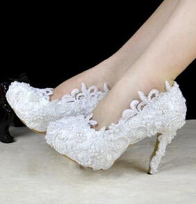 11cm heel pure white lace wedding shoes for women TG397 platforms white lace with ivory pearls bridal shoes wedding pumps