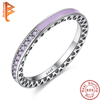 Luxury Original 100 925 Sterling Silver Radiant Hearts Of Lavender Enamel Ring For Women Purple Clear