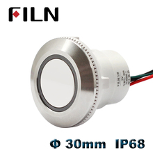 купить 30mm waterproof IP68 metal push button switch 12v 24v led illuminated momentary latching switch on off pushbutton wire leading дешево