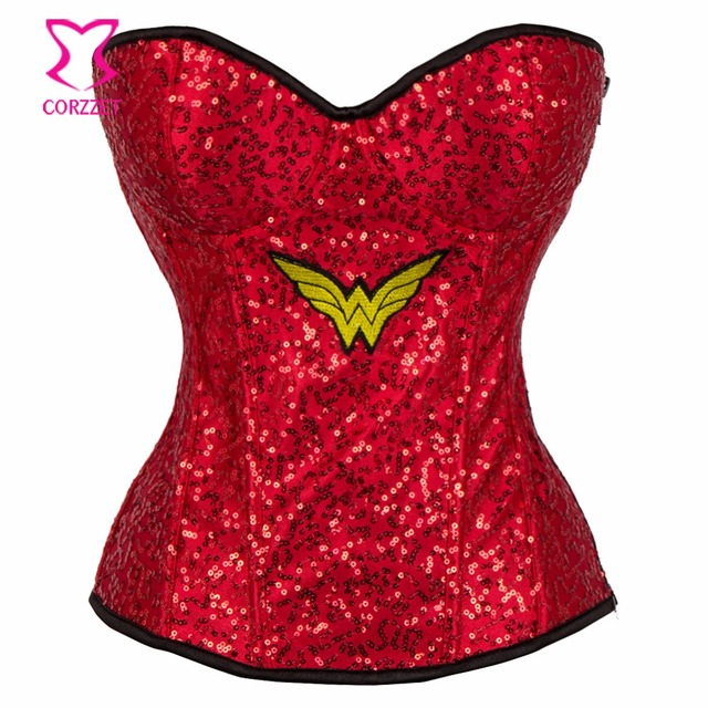 0d56cb9ba83 Red Sequins Wonder Woman Corset Bustier Sexy Lingerie Corpetes E Corselet  Overbust Gothic Clothing Supergirl Burlesque