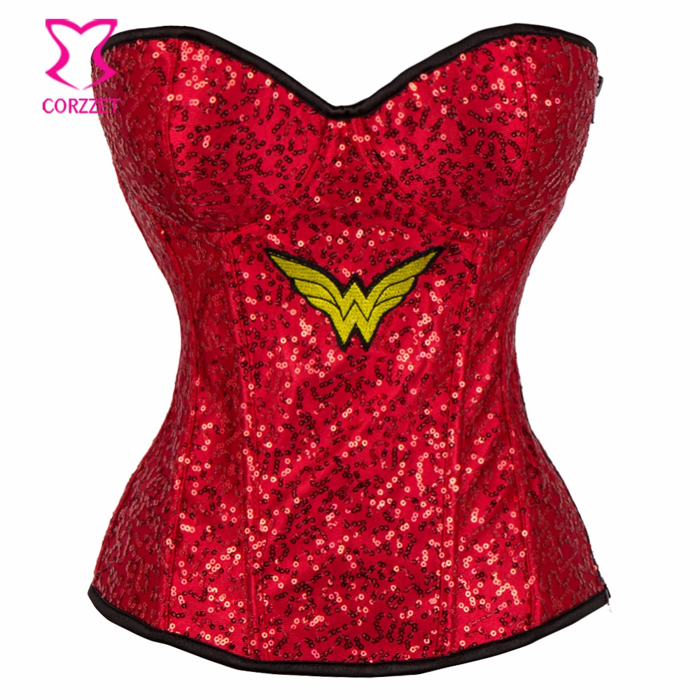 Red Sequins Wonder Woman   Corset     Bustier   Sexy Lingerie Corpetes E Corselet Overbust Gothic Clothing Supergirl Burlesque Costumes