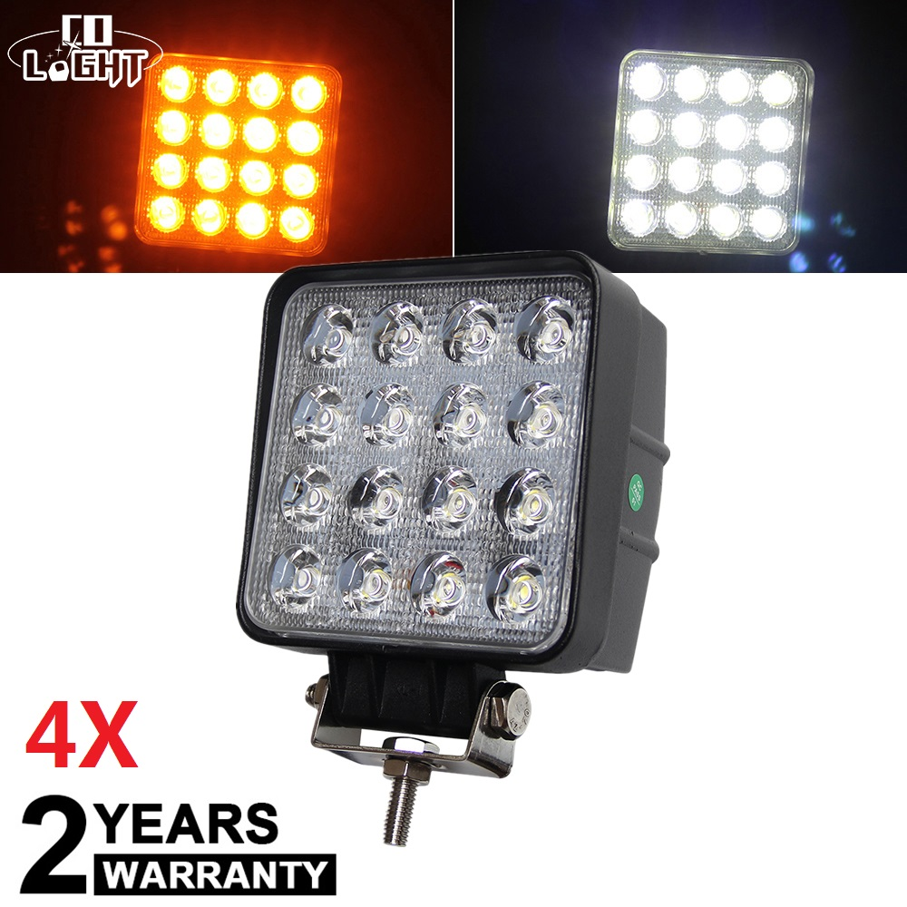 CO LIGHT 4PCS LED Work Light Flood 48W Square Driving Lamp for Truck Trailer SUV Offroad 4x4 ATV Off Road Boat 12V 24V 4WD super bright led cree xml t6 flashlight 5000lm tactical flashlight aluminum torch camping lamp light outdoor lighting