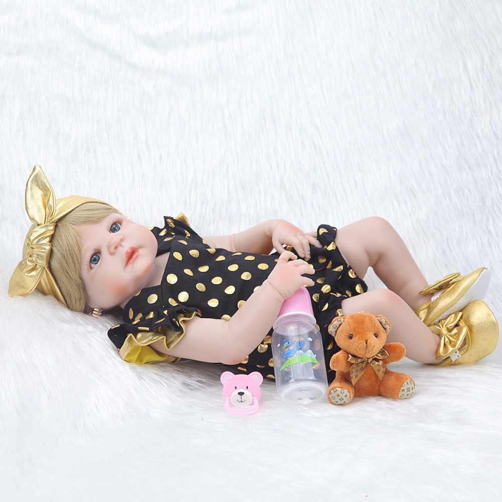 Очаровательная кукла-реборн 23 дюймов 57 см, силиконовая кукла ручной работы для маленькой девочки, кукла-реборн Boneca в милой поддельной одежде, детские куклы
