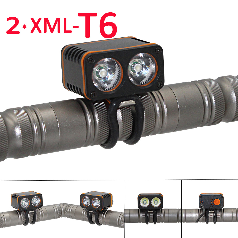 Bicycle Flashlight 2400LM 2x XML T6 LED Front Bicycle Light Ultra Fire Head Light Bike Lamp Back Tail Light
