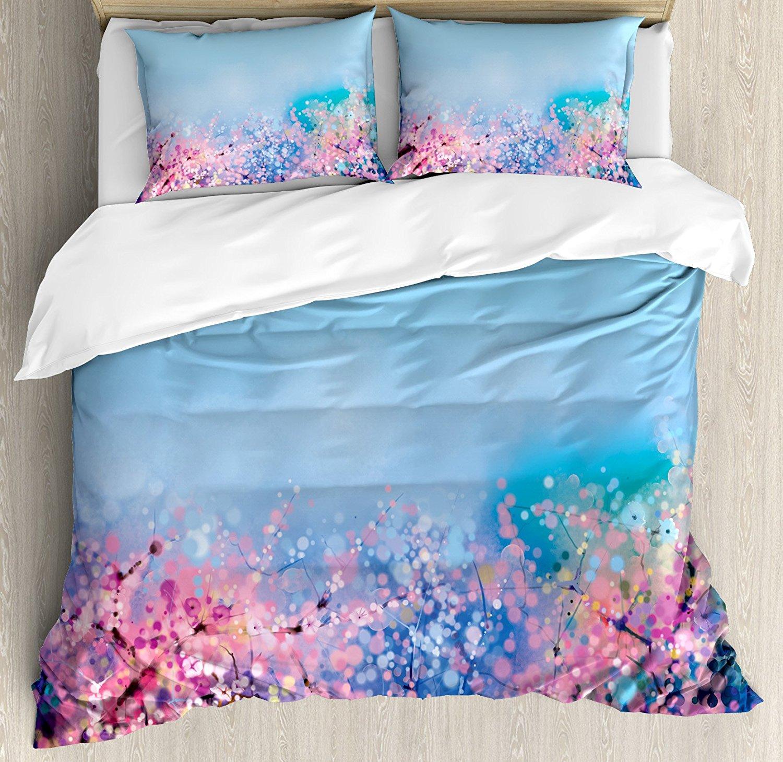 Juego de edredón nórdico, Retro Cherry Blossom Pétalo Perennial - Textiles para el hogar