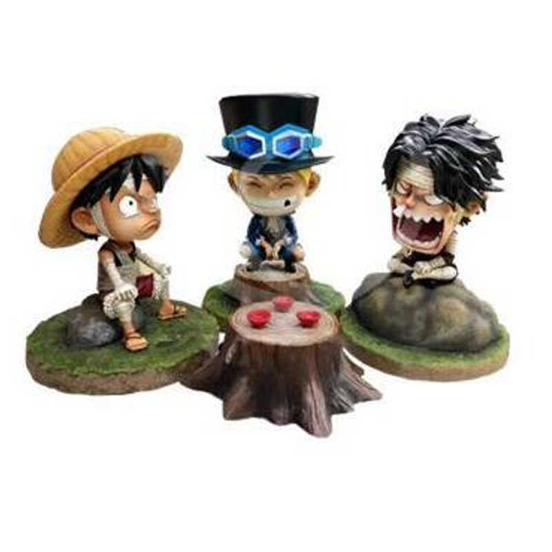Anime One Piece Bandage Monkey D. Luffy Sabo Ace PVC Action Figure Model Collection Toy Boneca Presentes