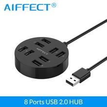 AIFFECT  USB HUB2.0 External 8 Port Splitter with Micro Power for Mac Computer Laptop Accessories HUB 2.0