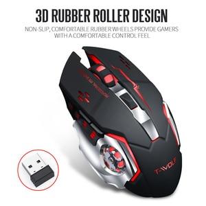Image 4 - T WOLF Q13 mysz bezprzewodowa na akumulator cichy ergonomiczne myszy do gier 6 klawiszy RGB podświetlenie 2400 DPI dla Laptop Pro Gamer