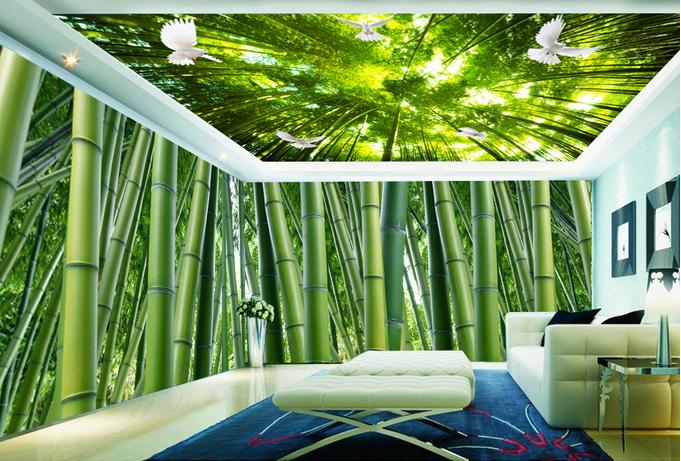 custom 3d ceiling wallpaper bamboo scenery mural apply to cultural center family the mall. Black Bedroom Furniture Sets. Home Design Ideas