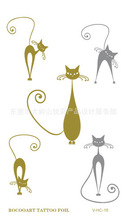 Gold And Silver Waterproof Sticker Tattoos Cute Cartoon Cats Designs For Men And Women Flash Tattoo VH0016