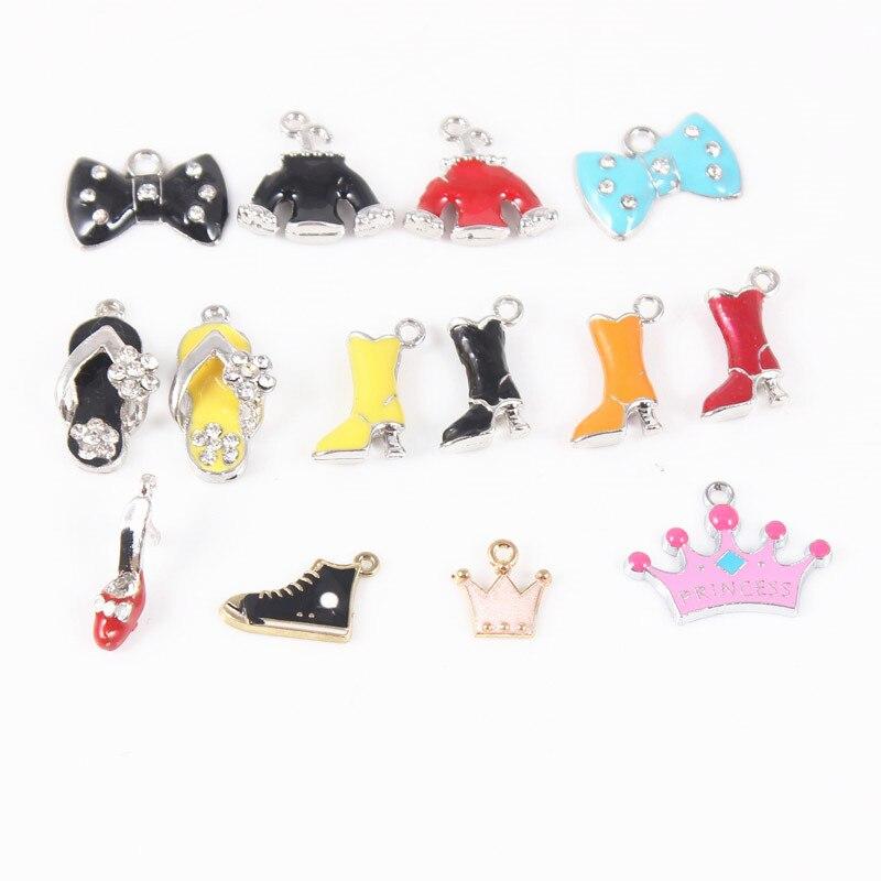 20 шт./лот смешивания 3D босоножки на высоком каблуке Сапоги и ботинки для девочек мотаться Талисманы Fit Браслет Цепочки и ожерелья подвеска DIY...