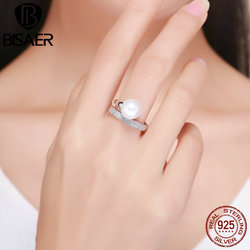 100% 925 Sterling Silver Elegance Big Ball White Simulated Pearl Rings Women Open Size Finger Ring Women Wedding Jewelry