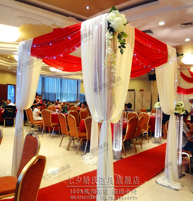 3m3m3m Whitered Square Canopy Drape With Stainless Steel Stand
