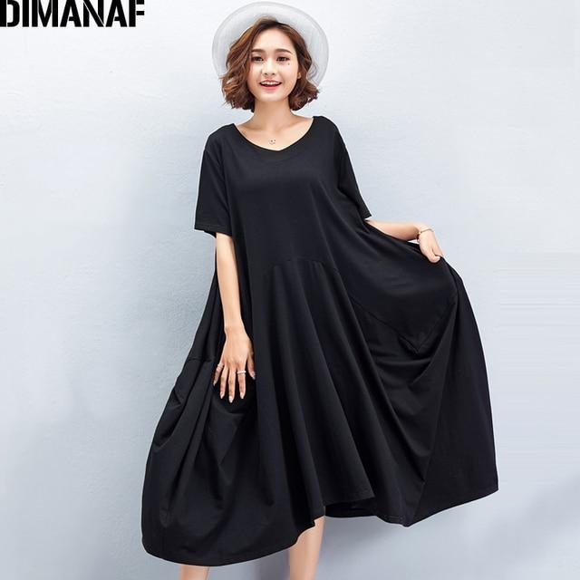 1f32615bfe2 DIMANAF Women Summer Dress Big Size Cotton Plus Size Casual Elegant Lady Black  Oversized Loose Female