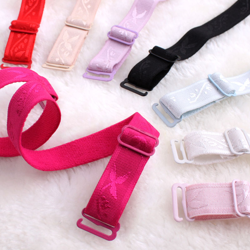 1.5cm candy color stretch cloth printed underwear accessories shoulder straps jacquard non slip bra strap elastic width women