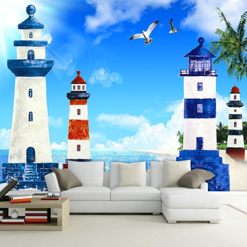 Mediterranean Style Houses With Ocean Views: Mediterranean Style 3D Cartoon Lighthouse Sea Landscape