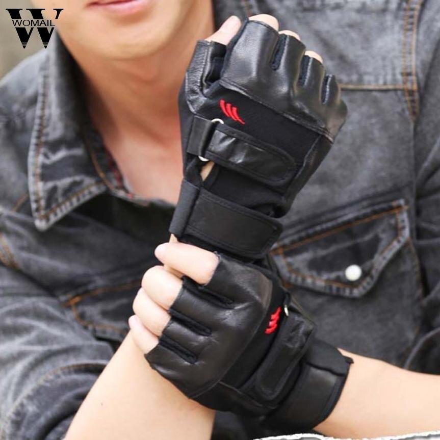 2017 Men Gym Exercise Training Sport Fitness Sports Half Finger Leather Gloves Nov3