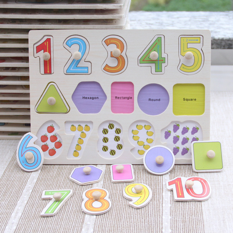 Baby Toys Montessori 2 In 1 Puzzle/Hand Grab Board Set Educational Wooden Toy Cartoon Vehicle/ Marine Animal Puzzle Child Gift