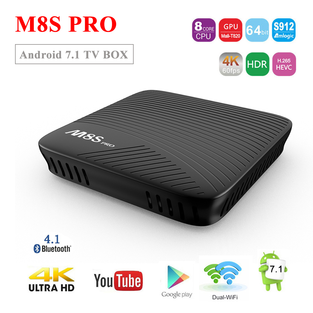 SATXTREM MECOOL M8S PRO Smart Tv Box Android 7.1 Amlogic S912 Octa-core 3G DDR4 32GB 4K HDR10 BT 4.1 2.4G&5G WiFi Media PlayerSATXTREM MECOOL M8S PRO Smart Tv Box Android 7.1 Amlogic S912 Octa-core 3G DDR4 32GB 4K HDR10 BT 4.1 2.4G&5G WiFi Media Player