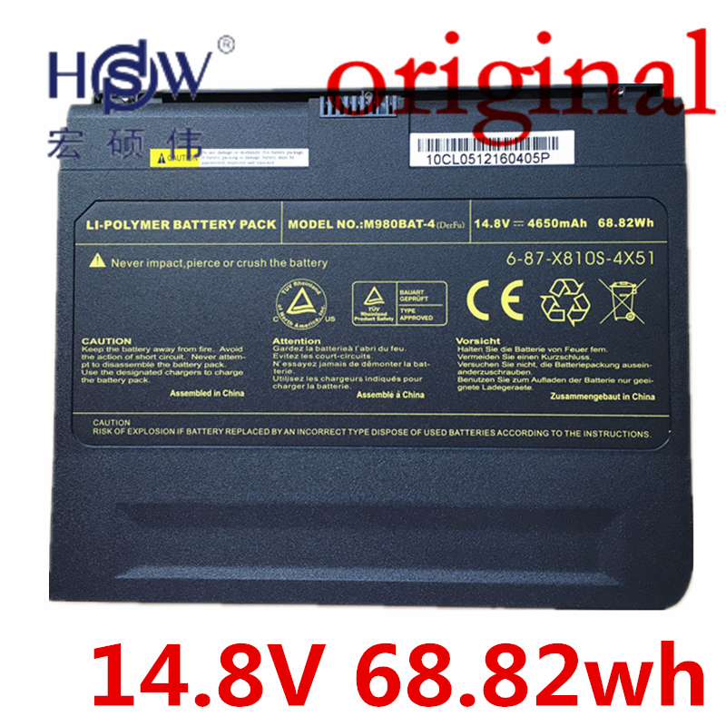 HSW 14.8V 4650MAH 68.82wh Genuine Original Battery For Clevo M980BAT-4,6-87-X810S-4X5 X8100 M980NU bateria akku lithium battery pack 72v 20ah li ion 18650 battery with 3a charger and bms for 5000w motor