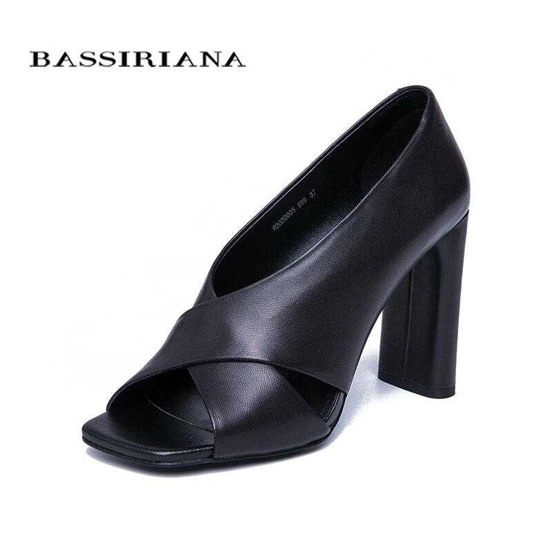 BASSIRIANA 2019 genuine Natural Leather High Heels Shoes woman Sandals women slip on summer Black size