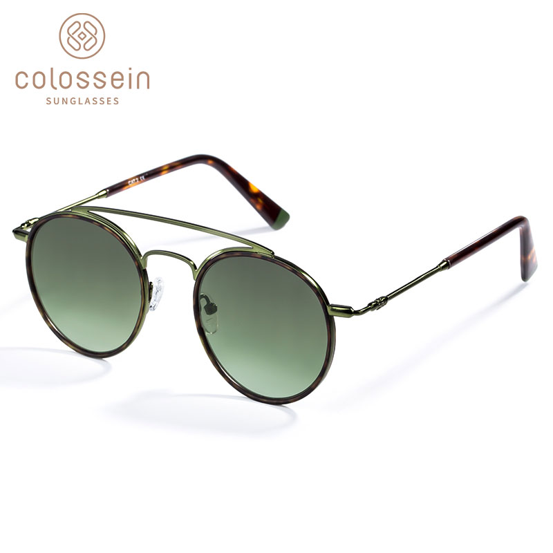6e69475932 COLOSSEIN Sunglasses Women Men Retro Fashion Round Glasses UV400 Double  Nose Bridge Metal Acetate Frame Eyewear