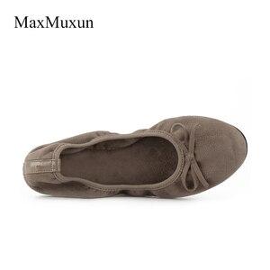 Image 4 - Maxmuxun Kadınlar Kış Siyah Katlanabilir Bale Daireler Elastik Papyon Balerin Dolly Ayakkabı Sonra Parti Daireler Dans Düğün Konuk
