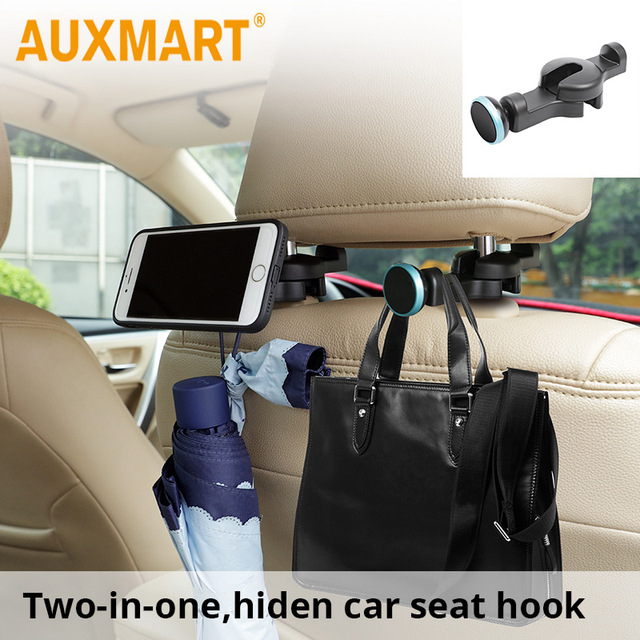 Auxmart Universal Car Seat Back Hooks With Magnetic Phone Holder Auto House Front Hanging Hook