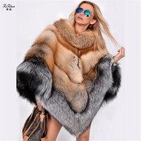 Зимние Для женщин Пальто Подлинная Red Fox меховая накидка теплый плащ модные пончо Настоящее Silver Fox меховой платок женский шарф накидка 180612 1