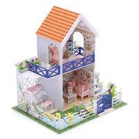 DIY Doll Houses Furniture Piano LED Lights WoodenDollhouse Miniature Pool Garden Villa Model For Christmas Birthday