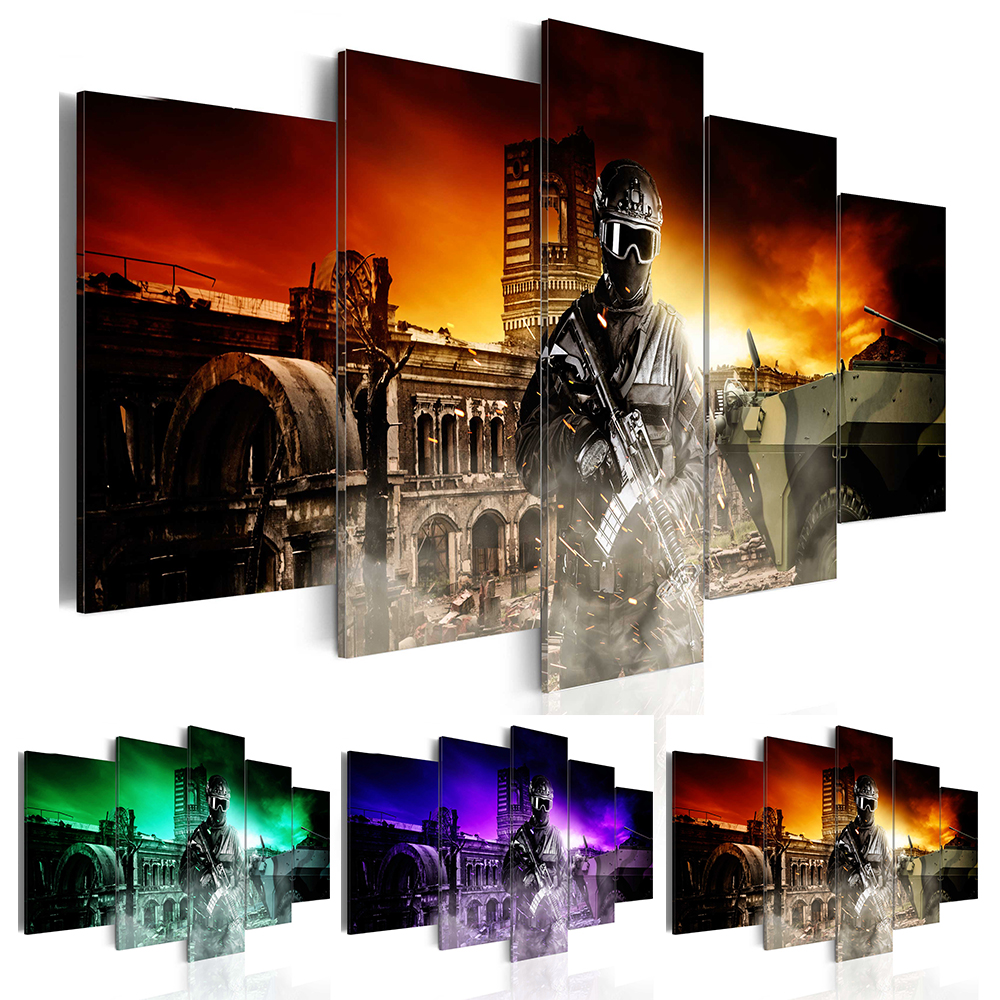 Fashion Wall Art Canvas Painting 5 Pieces Cool Soldier ...