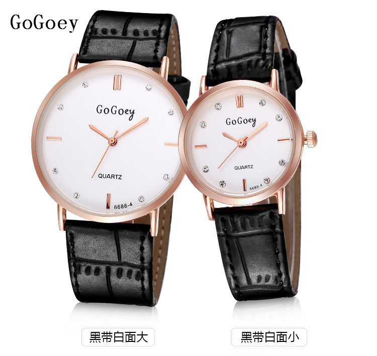 Luxury Gogoey Brand Leather Pairs Watches Women Men Fashion Crystal Dress Quartz Wristwatches 6688-4