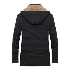 Image 2 - Plus velvet Men Winter Jacket 4XL 5XL Parka Fleece Fur Hooded Military Jacket Coat Pockets Windbreaker Jacket Men