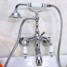 Wall Mounted Chrome Brass Clawfoot Bathtub Faucet telephone style Bath Shower Water Mixer tap with Handshower Kna218
