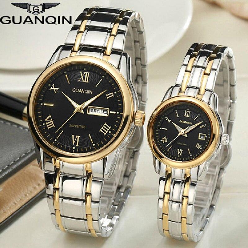2017 пара Часы Для женщин кварцевые Элитный бренд GUANQIN световой Водонепроницаемый сапфир Наручные часы Для мужчин Часы Для женщин любителей Ч
