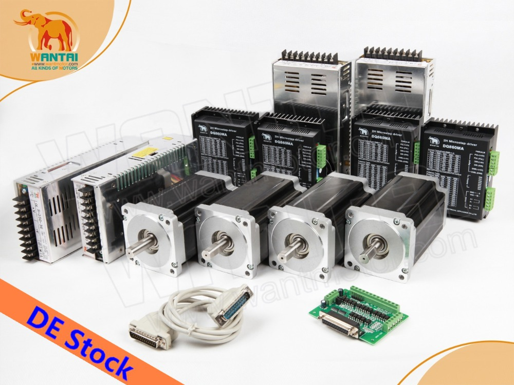 Ship From DE! 4 Axis Nema34 Stepper Motor Dual Shaft 1600oz-in+Driver  7.8A 80V 256Micro+ Power CNC Big Discount 80 1600
