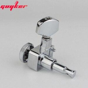 Image 4 - 1 conjunto guyker 6 in line cabeças de máquina sem parafusos de bloqueio tuning chave pegs tuners cromo prata 6r