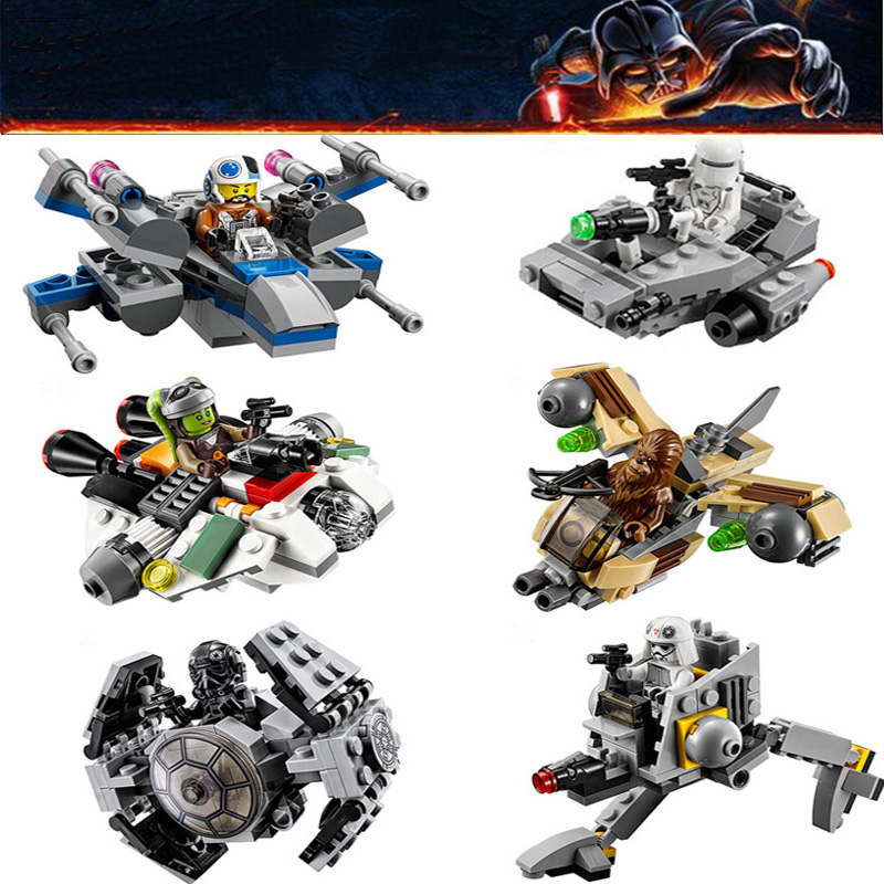 2017 NEW 6pcs Star Space Microfighters Building Bricks Blocks Set Clone Wars Micro Fighter Kids Toys Compatible Lepine Starwars 35012 clone wars rogue one star space hovertank building bricks blocks sets kids toys compatible lepine 75152 starwars 2017