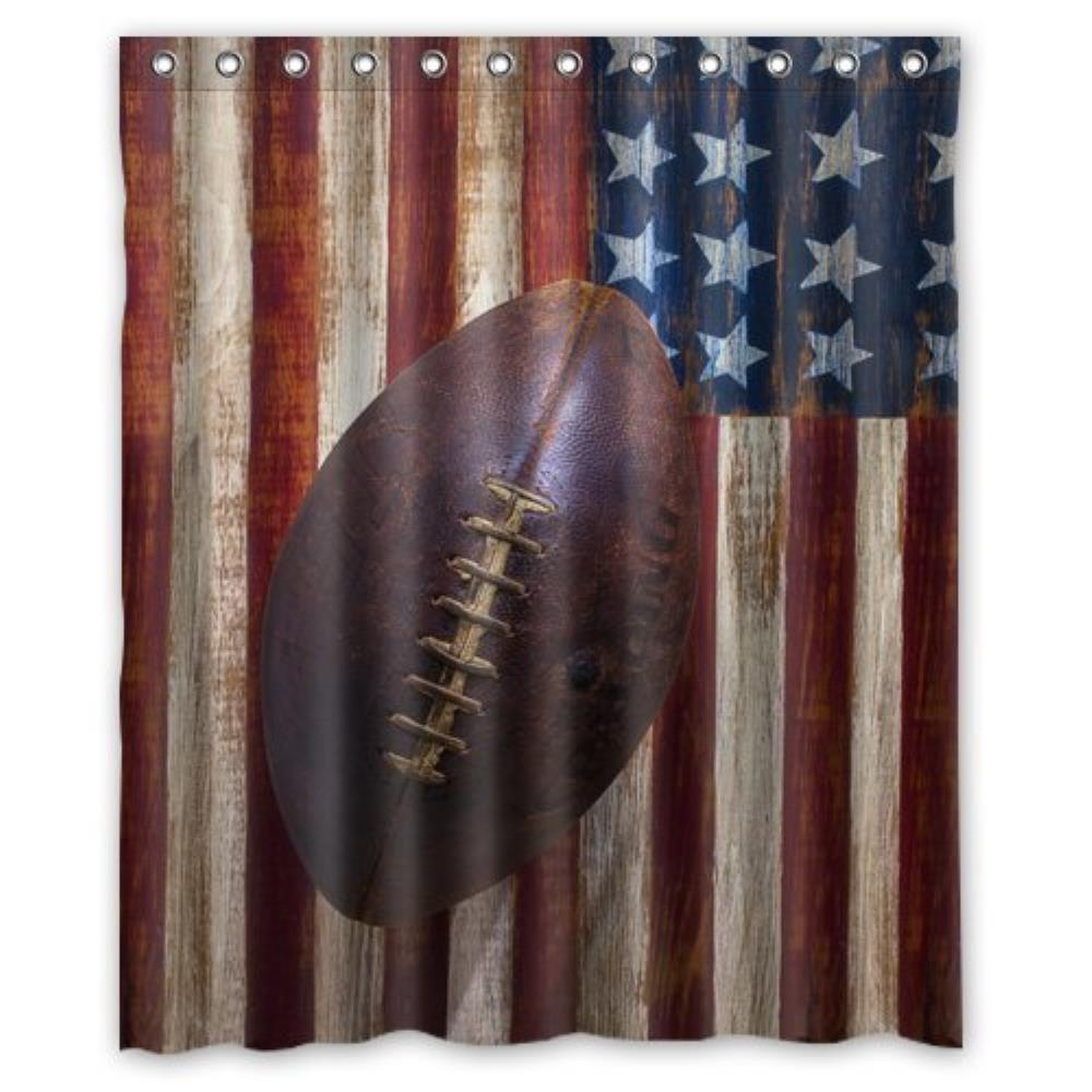 Lovely Vintage Old American Football Custom Shower Curtain Pattern Waterproof Fabric For Bathroom 6672inch