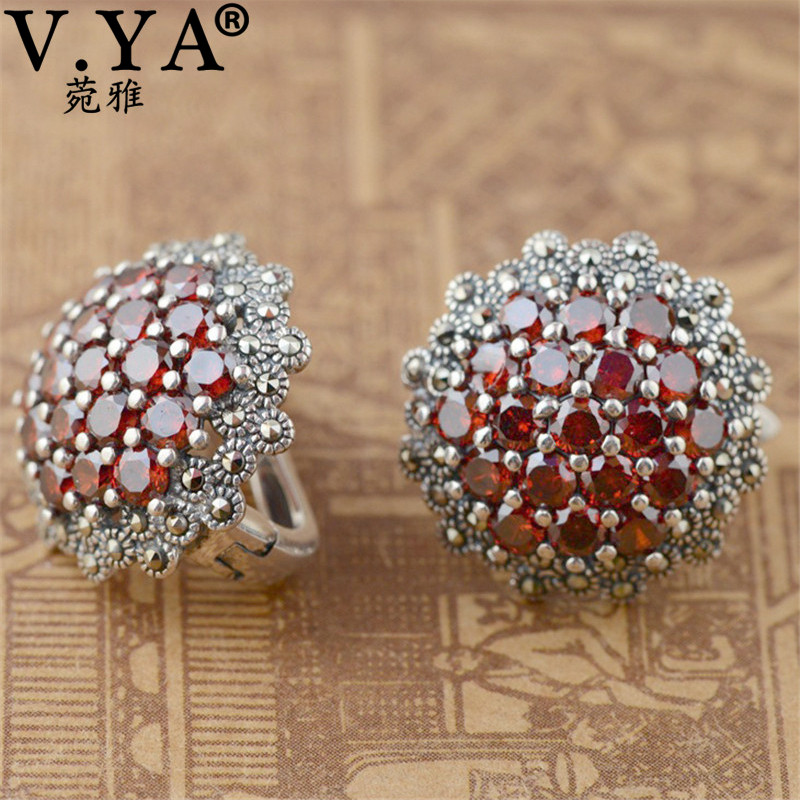 V.YA Real 925 Sterling Silver Jacinth Garnet Stone Earrings For Women Lady Elegant Party Jewelry Hoop Earrings Best Gifts colorful cubic zirconia hoop earring fashion jewelry for women multi color stone aaa cz circle hoop earrings for party jewelry