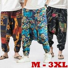 Новые хип-хоп Aladdin Hmong мешковатые хлопковые льняные шаровары брюки для мужчин и женщин плюс размер широкие брюки Новые повседневные брюки