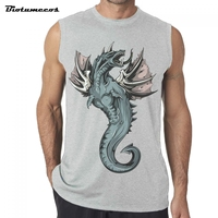 Pterosaur Fashion Printed Tank Top Men Bodybuilding Fitness Sleeveless Clothing Cotton Casual Summer Tee For Guys