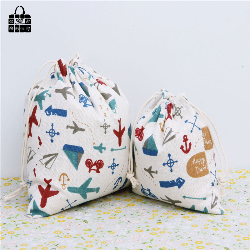 Plane war printed 100% cotton bag Travel Accessories Clothes underwear shoes toy Storage Pouch Luggage Packing Organizers bag