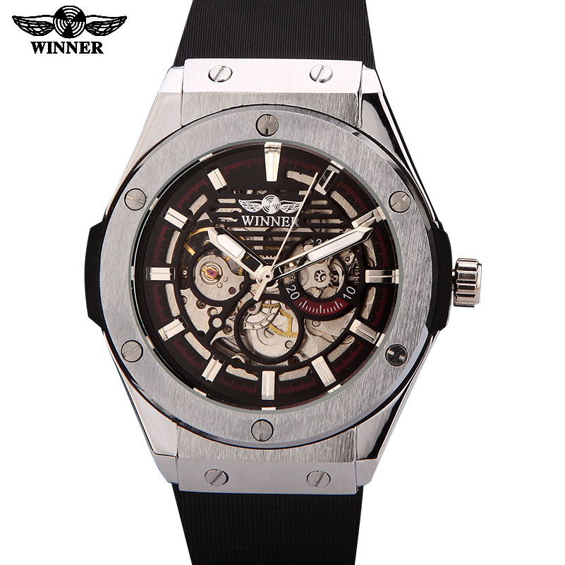 WINNER watches men luxury brand sports casual military clock wristwatches automatic wind mechanical skeleton watch rubber strap