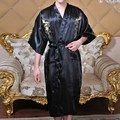 Hot Sale Men Robes Summer Style Faux Silk Men Home Wear Chinese Dragon Embroidery Sleepwear Man Bath Gown Pajama